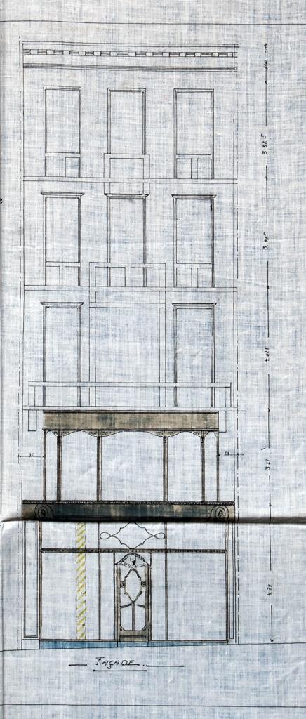 Harker's Sports, Rue de Namur 62-62A, Bruxelles, élévation de la façade principale, AVB/TP 17551