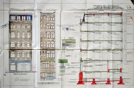 Mutuelle des syndicats réunis, Rue de Laeken 35-37, Bruxelles, agrandissments de 1923, plan, coupe et élévations, AVB/TP 31713 (1923)