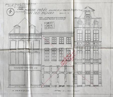 Banque privée, Rue de la Colline 16, Bruxelles, projet non réalisé, élévation de la façade, AVB/TP 33021 (1921)