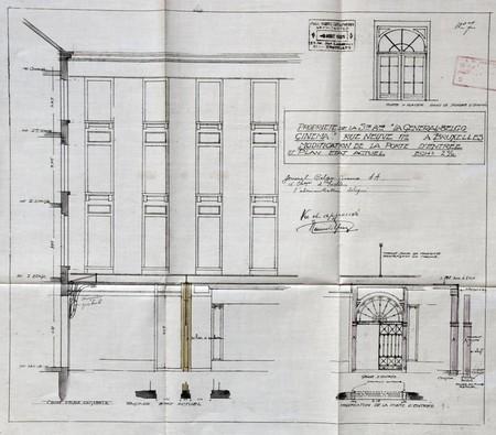 Rue Neuve 48-50, Bruxelles, transformation des bureaux de la S.A. Générale Belgo-Cinéma, porte d'entrée, AVB/TP 26770 (1921)