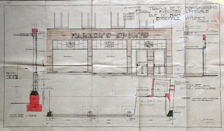 Harker's Sports, Rue de Namur 51-53, Bruxelles, projet de vitrine, AVB/TP 31 911 (1923)