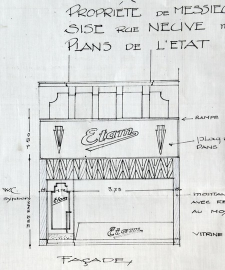 Etam, Rue Neuve 46, Bruxelles, projet de transformation, élévation de la vitrine, AVB/TP 33766 (1928)