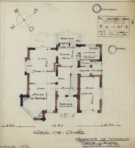 Coxyde, projet de construction de villa, plan du rez-de-chaussée, archives familiales Hamesse