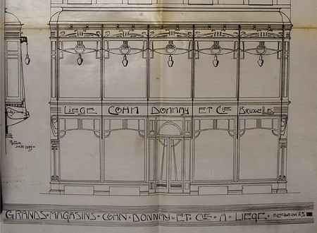 Magasins Cohn-Donnay & Cie, Rue de l'Université, Liège, élévation de la devanture commerciale, ACLiège, B312 n°3752 (1902)