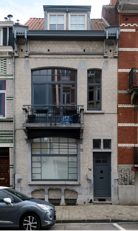Rue des Mélèzes 76, Ixelles, élévation principale (© APEB, photo 2017)