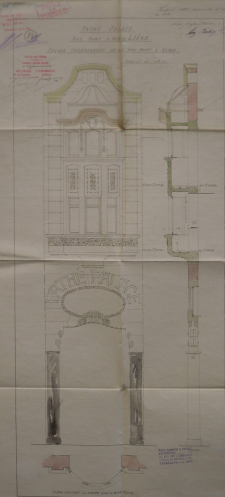 Pathé Palace, Rue Pont d'Avroy |rue Tête de Bœuf |rue d'Amay, Liège, élévation de la façade rue Pont d'Avroy, AVL, Fonds permis de bâtir n° 10325 (1914)