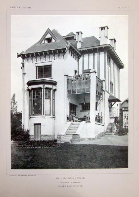 Dieweg 71, Uccle, élévation principale (© L'Emulation 1909, planche XLVIII)