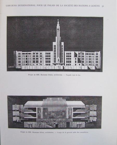 Projet pour le Palais de la Société des Nations (non réalisé), Genève, Suisse (© L'Émulation 1928, n°5, p. 51)