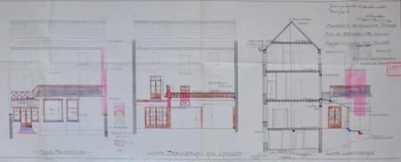 Rue du Berceau 28, Bruxelles Extension Est, façade postérieure et coupes, AVB/TP 20901