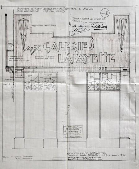 Galeries Lafayette, Rue Neuve 49, Bruxelles, projet de transformation, élévation de la vitrine après transformation, AVB/TP 34542 (1928)