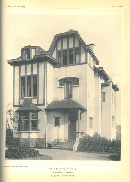 Dieweg 71, Uccle, façade avant (© L'Emulation 1909, planche XLVIII)