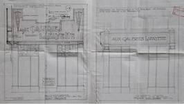 Galeries Lafayette, Rue Neuve 49, Bruxelles, projet de transformation, élévation de la vitrine avant et après transformation, AVB/TP 34542 (1928)