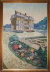 Château Les Asiliers, Avenue du Vert Chasseur 44, Uccle, peinture de la façade postérieure par Hamesse ou un de ses frères, archives familiales Hamesse