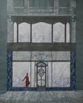 Harker's Sports, Rue de Namur 62-62A, Bruxelles, dessin de la vitrine projetée, archives familiales Hamesse