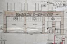 Harker's Sports, Rue de Namur 51-53, Bruxelles, projet de vitrine, détail, AVB/TP 31 911 (1923)