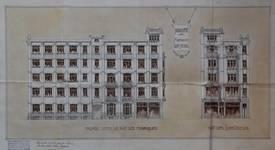 Usines Emile Goeyens, place du Jardin aux Fleurs 5, Bruxelles, avant-projet, élévation de la façade rue des Fabriques et place du Jardin aux Fleurs, AVB/TP 3900 (1909)