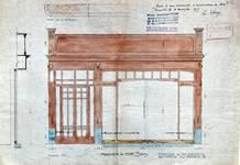 English Shop, Rue du Marché aux Herbes 15, Bruxelles, avant-projet, élévation de la vitrine, AVB/TP 3016 (1905)