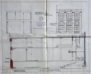 À la Mort Subite, Rue Montagne aux Herbes Potagères 5-7, Bruxelles, façade avant et après transformation et coupe, AVB/TP 5881 (1910)