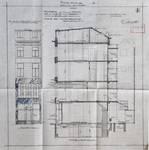 Vinche, Rue du Marché aux Herbes 4, Bruxelles, élévation de la façade principale et coupe longitudinale, AVB/TP 31826 (1925)