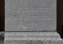 Avenue Roger Vandendriessche 33, Woluwe-Saint-Pierre, signature de l'architecte (© APEB, photo 2017)