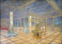 Pathé Palace, Boulevard Anspach 85, Bruxelles, aquarelle du jardin d'hiver, archives familiales Hamesse