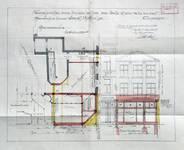 Michiels, Rue Haute 195-199, Bruxelles, second projet de transformation du 195, plan du rez-de-chaussée et élévation de la façade, AVB/TP 34143 (1927)