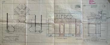 Alfred, Rue Neuve 39, Bruxelles, plan, élévation et coupe de la devanture, AVB/TP 35469 (1928)