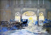 Albert Hall, Chaussée d'Ixelles 16 | Chaussée de Wavre 12, Ixelles, aquarelle par Georges Hamesse, vue de la rue et du rez-de-chaussée en 1919 (© archives familiales Hamesse)