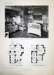 Dieweg 71, Uccle, une chambre à coucher et plan des deux premiers niveaux (©L'Emulation 1909, planche L)