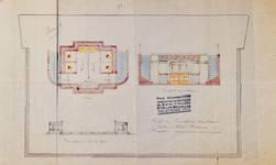 Lavatory souterrain, place Fontainas, Bruxelles, avant-projet, plan, coupe et vue extérieure, AVB/TP 6 (1907)