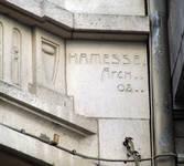 Hôtel Leefson, Rue de l'Ecuyer 47, Bruxelles, signature (© CM, photo 2014)