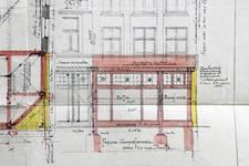 Michiels, Rue Haute 195-199, Bruxelles, projet de transformation du 195, élévation de la façade, AVB/TP 34143 (1927)