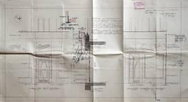 Etam, Rue des Fripiers 1, Bruxelles, projet de transformation, entrées du magasin et coupe, AVB TP 34 854 (1929)