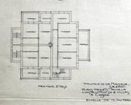 Koninklijke Baan 239-241, Koksijde, grondplan eerste verdieping (© Fondation CIVA Stichting/AAM, Brussels /Paul Hamesse)