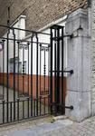 Union commerciale des Glaceries belges, Rue de la Source 86, Saint-Gilles, grille en fer forgé de l'entrée (© APEB, photo 2017)