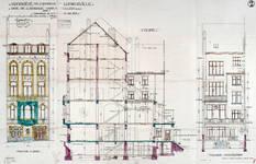 Rue de l'Abbaye 75, Ixelles, élévations et coupe longitudinale, ACI/Urb. 1-75 (1924)