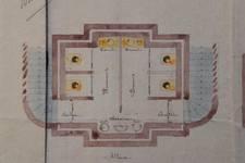 Lavatory souterrain, place Fontainas, Bruxelles, avant-projet, coupe, AVB/TP 6 (1907)