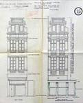 Cinéma Agora, Rue de la Colline 18-22, Bruxelles, entrée rue de la Colline, entrée rue du Marché aux Herbes 105, élévation de la façade avant et après transformation, AVB/TP 41668 (1921)