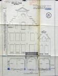Cinéma Agora, Rue de la Colline 18-22, Bruxelles, entrée rue de la Colline, entrée rue des Eperonniers, élévation de la façade transformée, AVB/TP 41668 (1921)