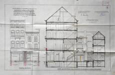 Liétart, Rue Neuve 63-63a-67, Bruxelles, élévation des façades avant et coupe longitudinale, AVB/TP 32530 (1926)