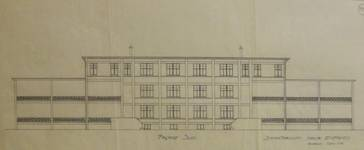 Sanatorium populaire de Waterloo - La Hulpe, Chemin du Sanatorium, La Hulpe, aile pour enfants, façade sud, projet non réalisé  (© Fondation CIVA Stichting/AAM, Brussels /Paul Hamesse)