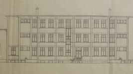 Sanatorium populaire de Waterloo - La Hulpe, Chemin du Sanatorium, La Hulpe, élévation d'une façade, avant-projet  non réalisé (© Fondation CIVA Stichting/AAM, Brussels /Paul Hamesse)