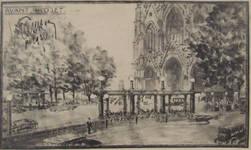 Parvis Notre-Dame, avant-projet de tunnel routier sous le chemin de fer, 1931, archives famille Hamesse